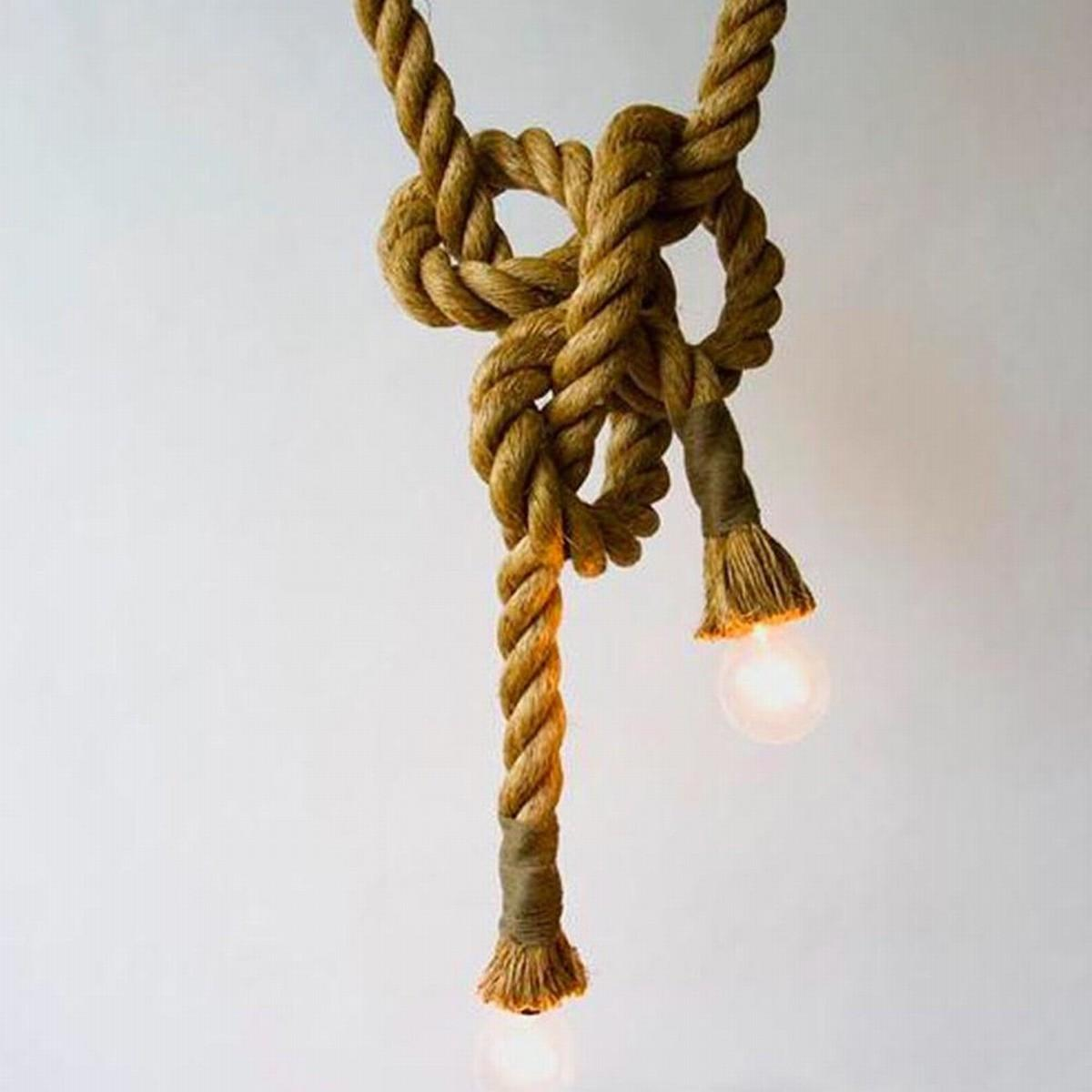 Diy Vintage Retro Pendant E27 Edison Bulbs Rope Ceiling