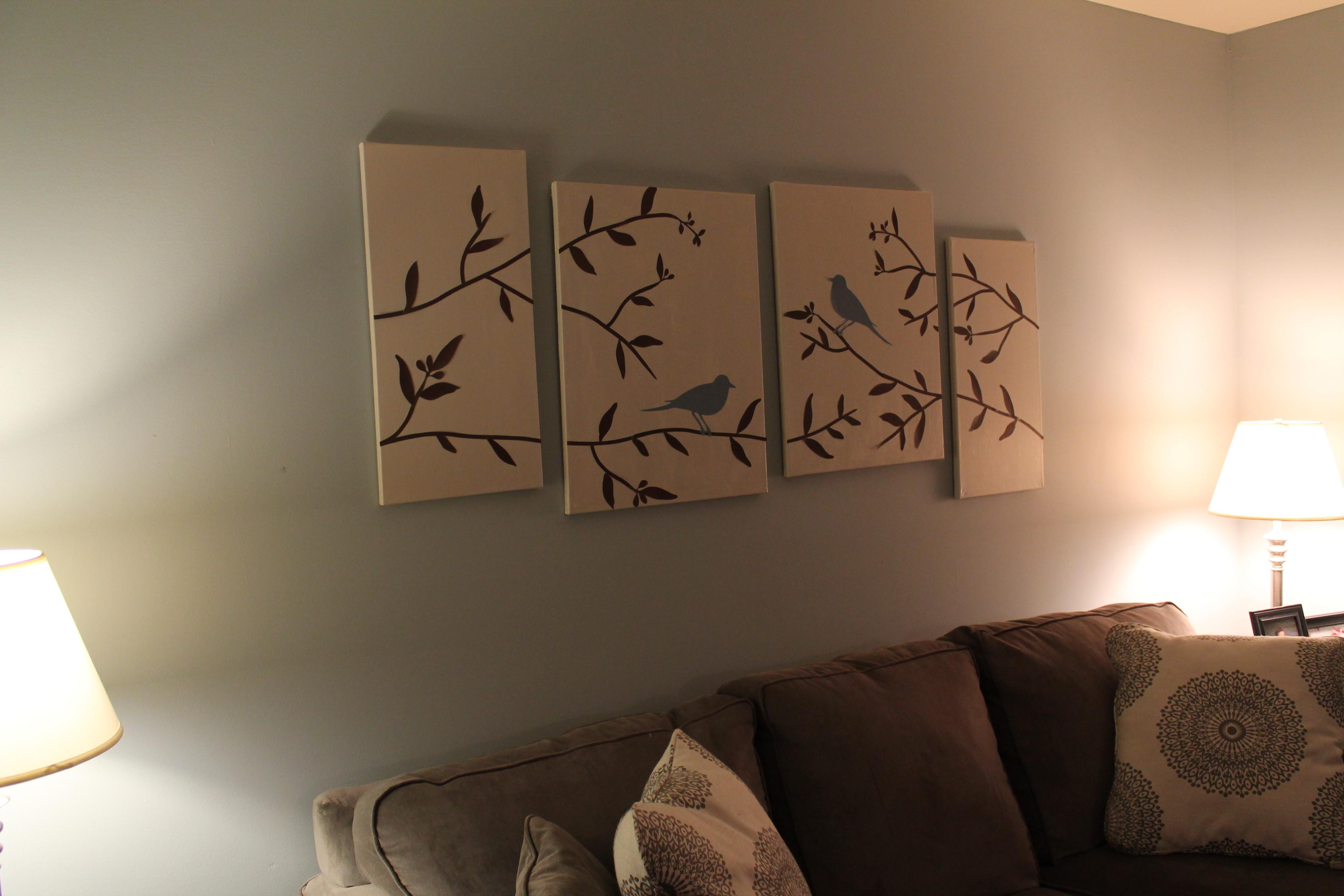 Diy Wall Art Birds Branches Canvas See Debt Run