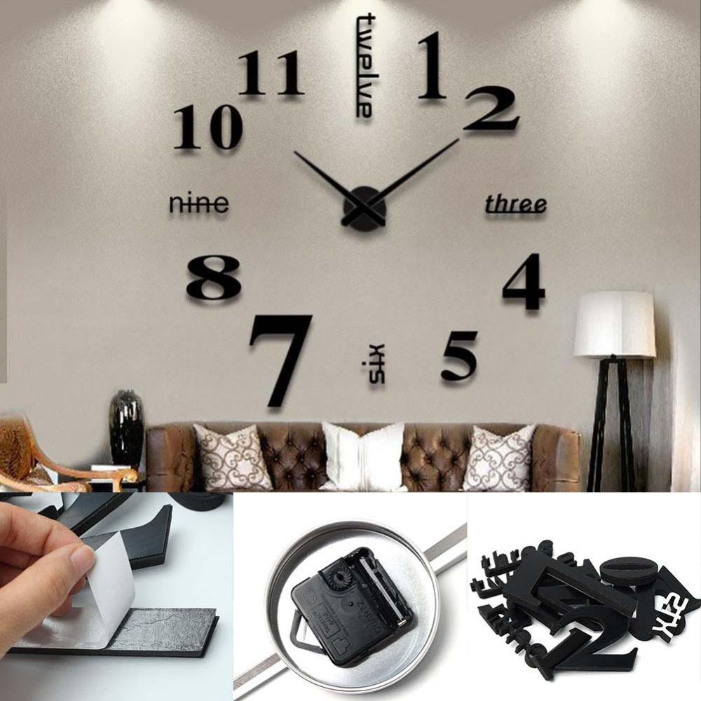 Diy Wall Clock Sticker Mirror Surface Home Living Room