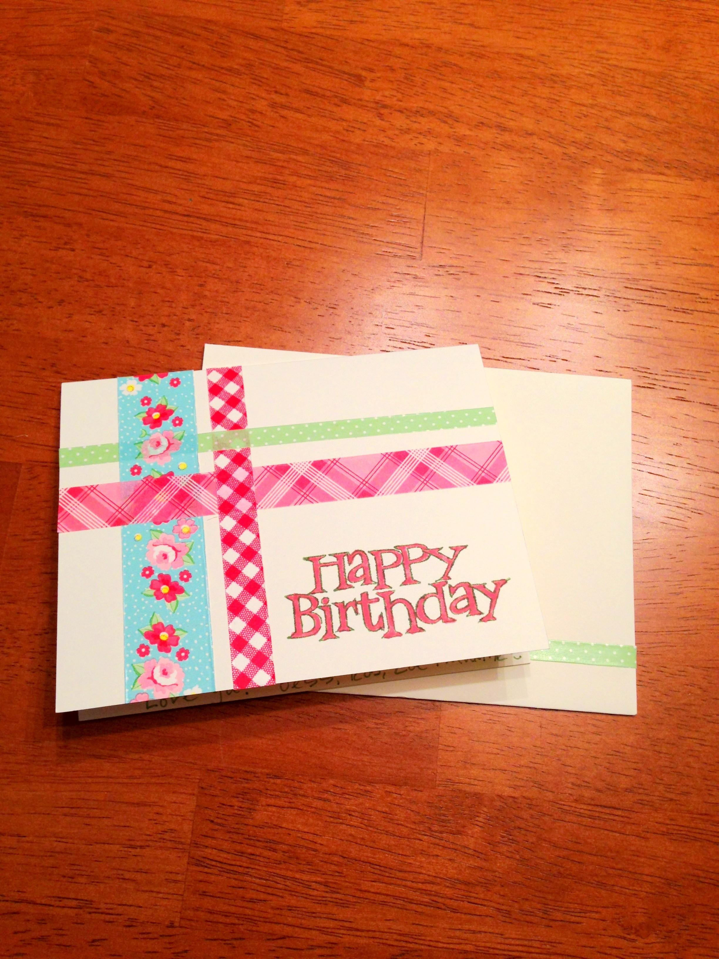 Diy Washi Tape Birthday Card Styled Jess
