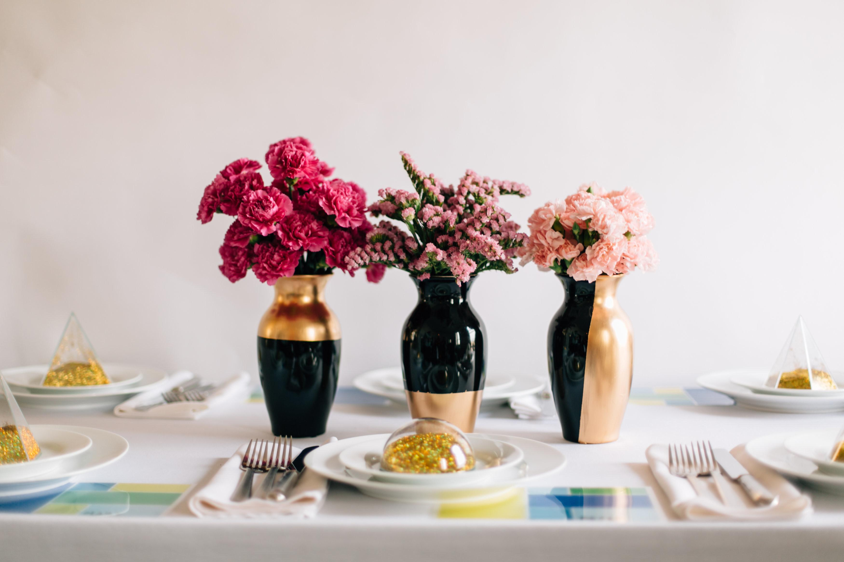 Diy Wedding Centerpieces Gilded Gold Vases