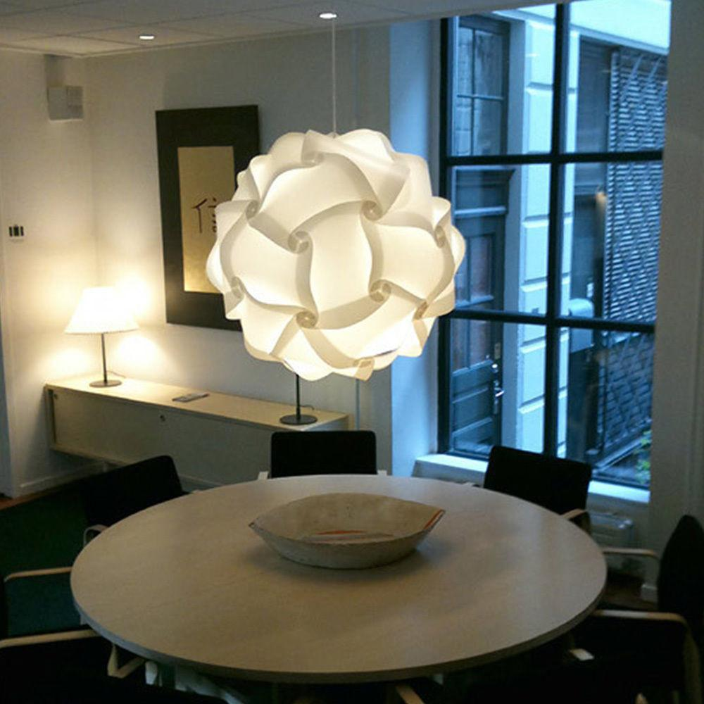 Diy White Ceiling Pendant Jigsaw Puzzle Lamp Light