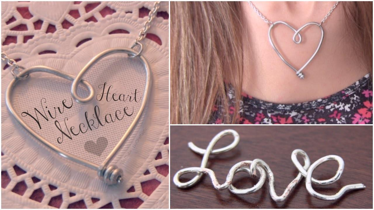 Diy Wire Heart Necklace Pendant Name Jewelry