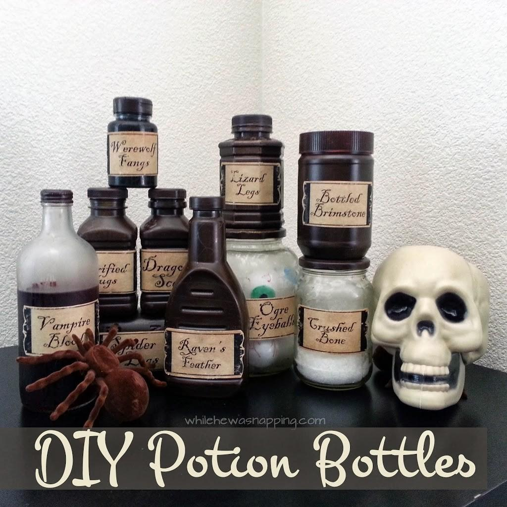 Diy Witch Potion Bottles While Napping