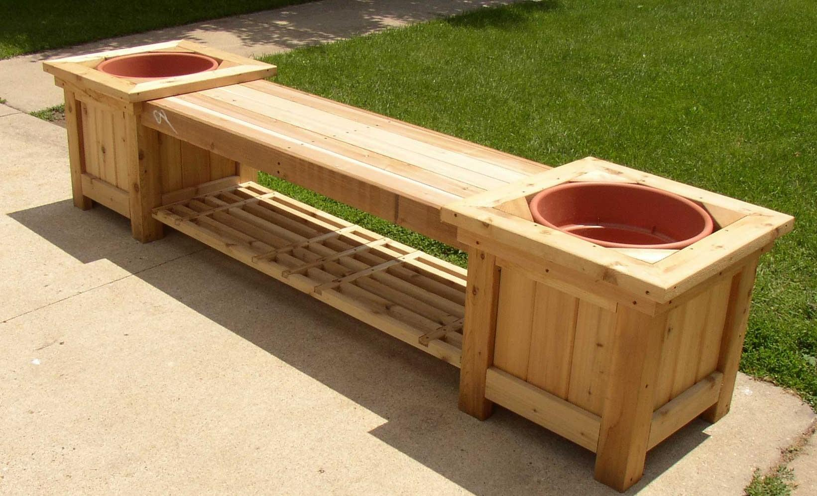 Diy Wood Planter Bench Projects Garden Windmill Building