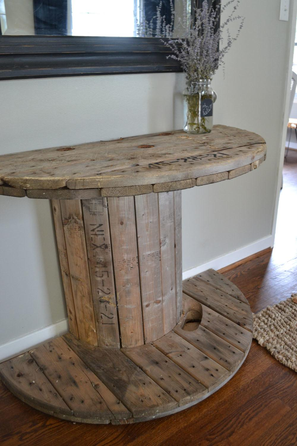 Diy Wooden Spool Console Table Crooked Housewife