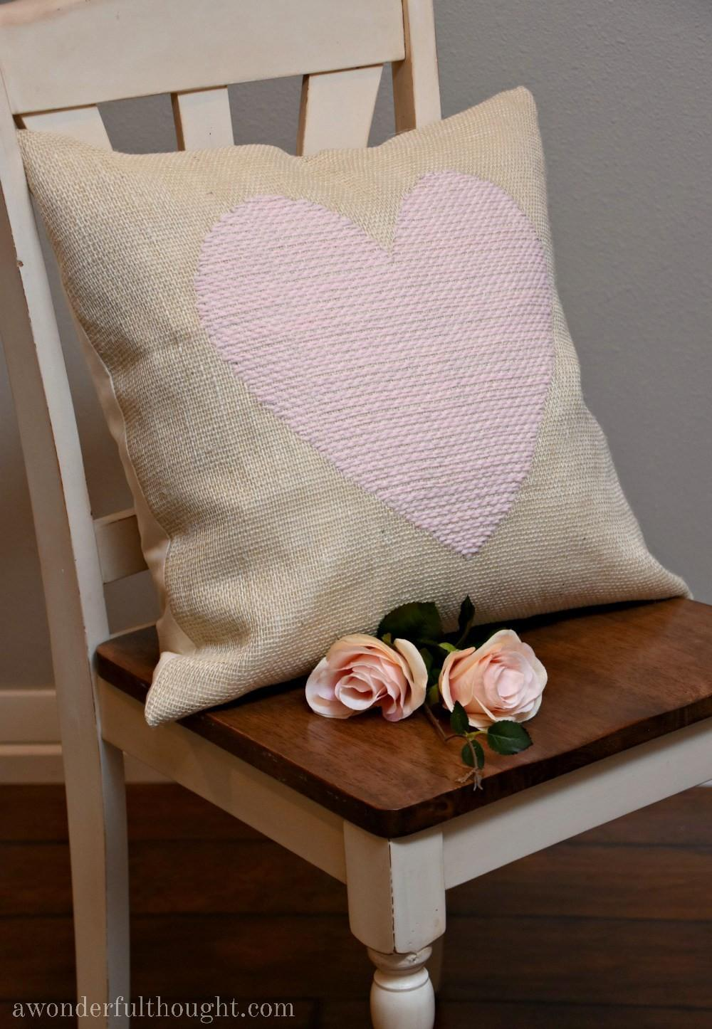 Diy Woven Heart Burlap Pillow Wonderful Thought