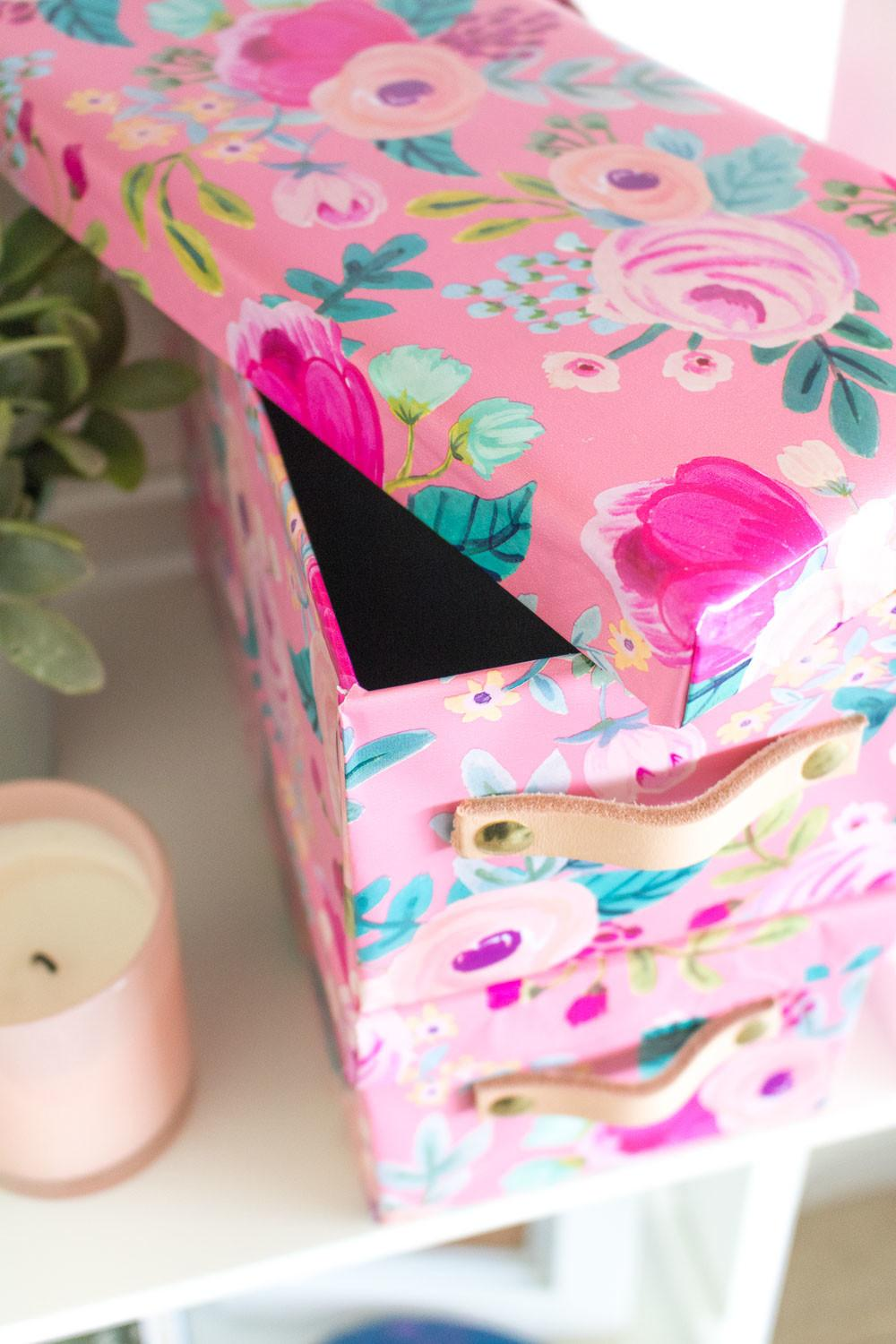 Diy Wrapping Paper Covered Boxes Leather Handles