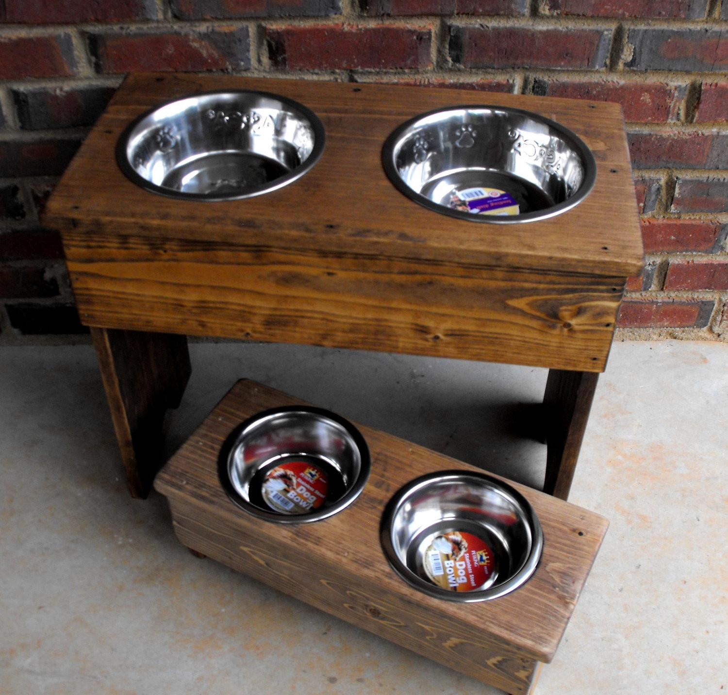 Dog Bowl Stand Large Stained Wooden Tall Two