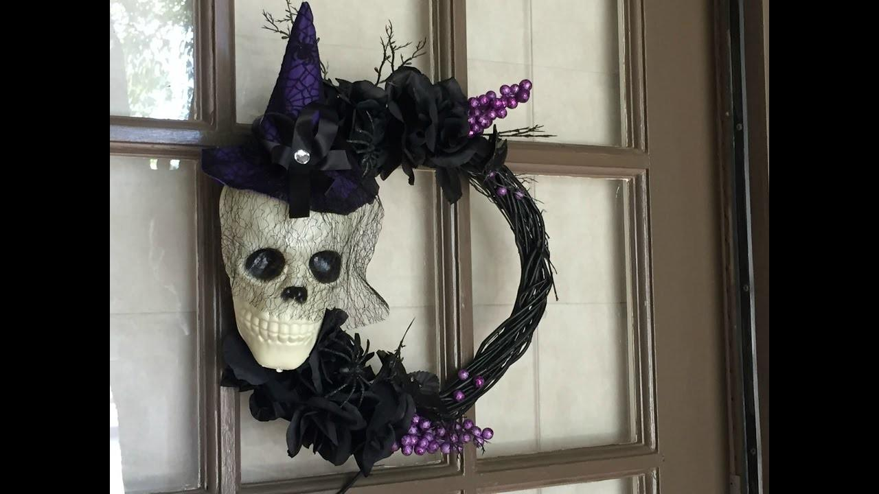 Dollar Tree Diy Halloween Skull Wreath Tutorial 2016
