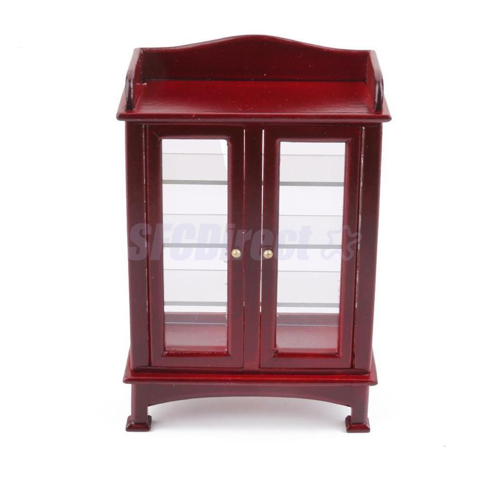 Dollhouse Furniture Mahogany Display Cabinet Cupboard