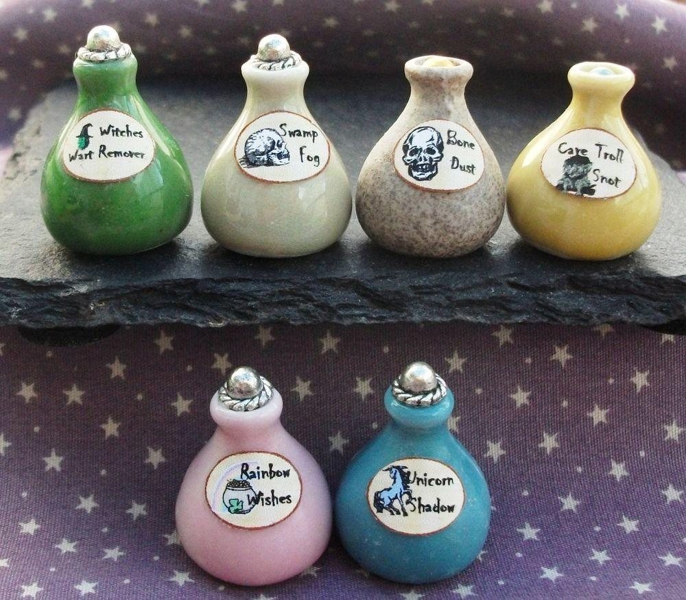 Dolls House Witch Potion Bottles Wizard Spooky Halloween