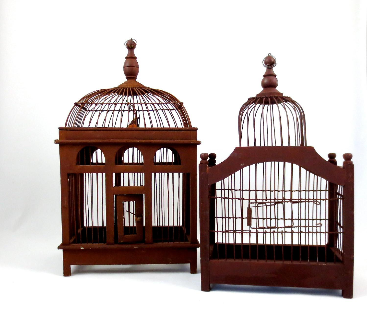 Domed Bird Cages Wood Metal Wire Set Two Antique
