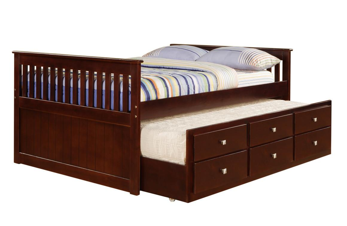 Donco Cappuccino Captains Bed Trundle