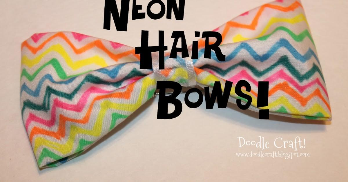 Doodlecraft Neon Sharpie Hair Bows Hot Glue Gun Week
