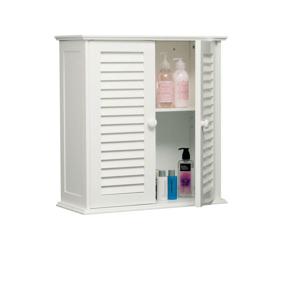 Double Door Shutter Two Shelf White Bathroom Wall Mounted