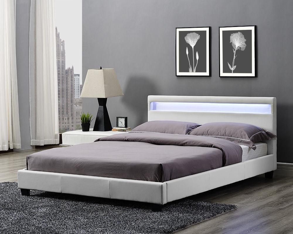Double King Bed Frame Led Headboard Night Light