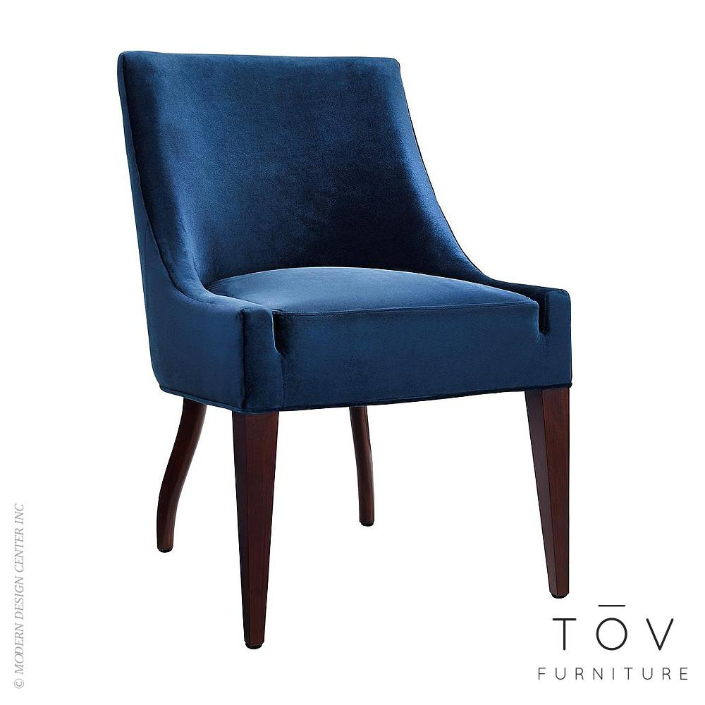Dover Blue Velvet Chair Set Tov Furniture