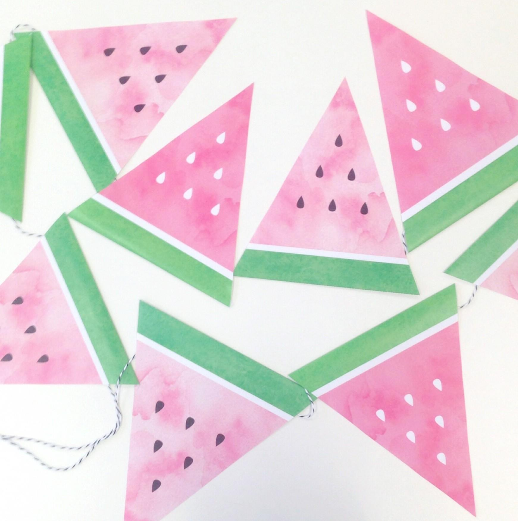 Downloadable Watermelon Bunting Miss
