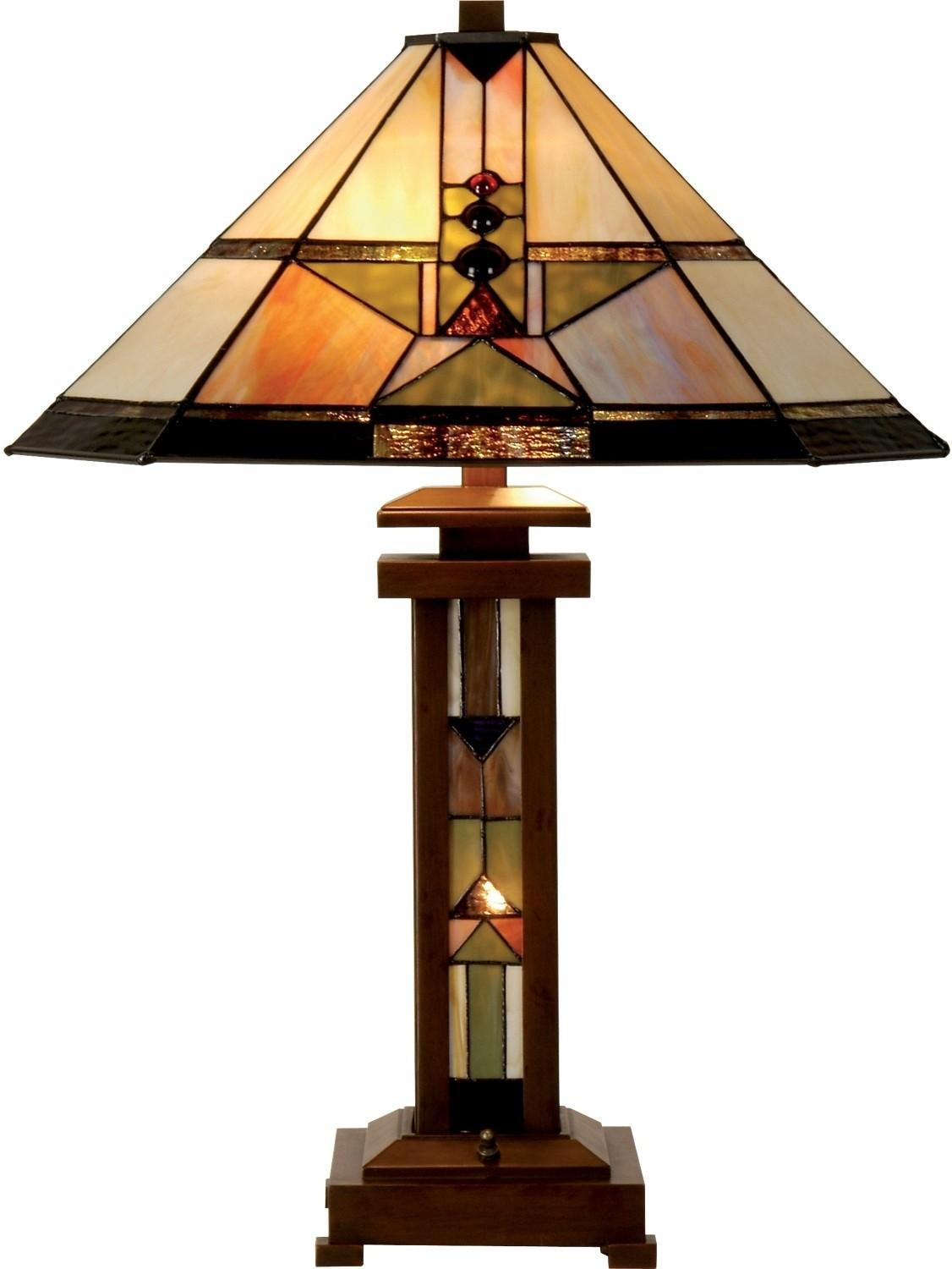 Drake Table Lamp Stained Glass Shade Brick