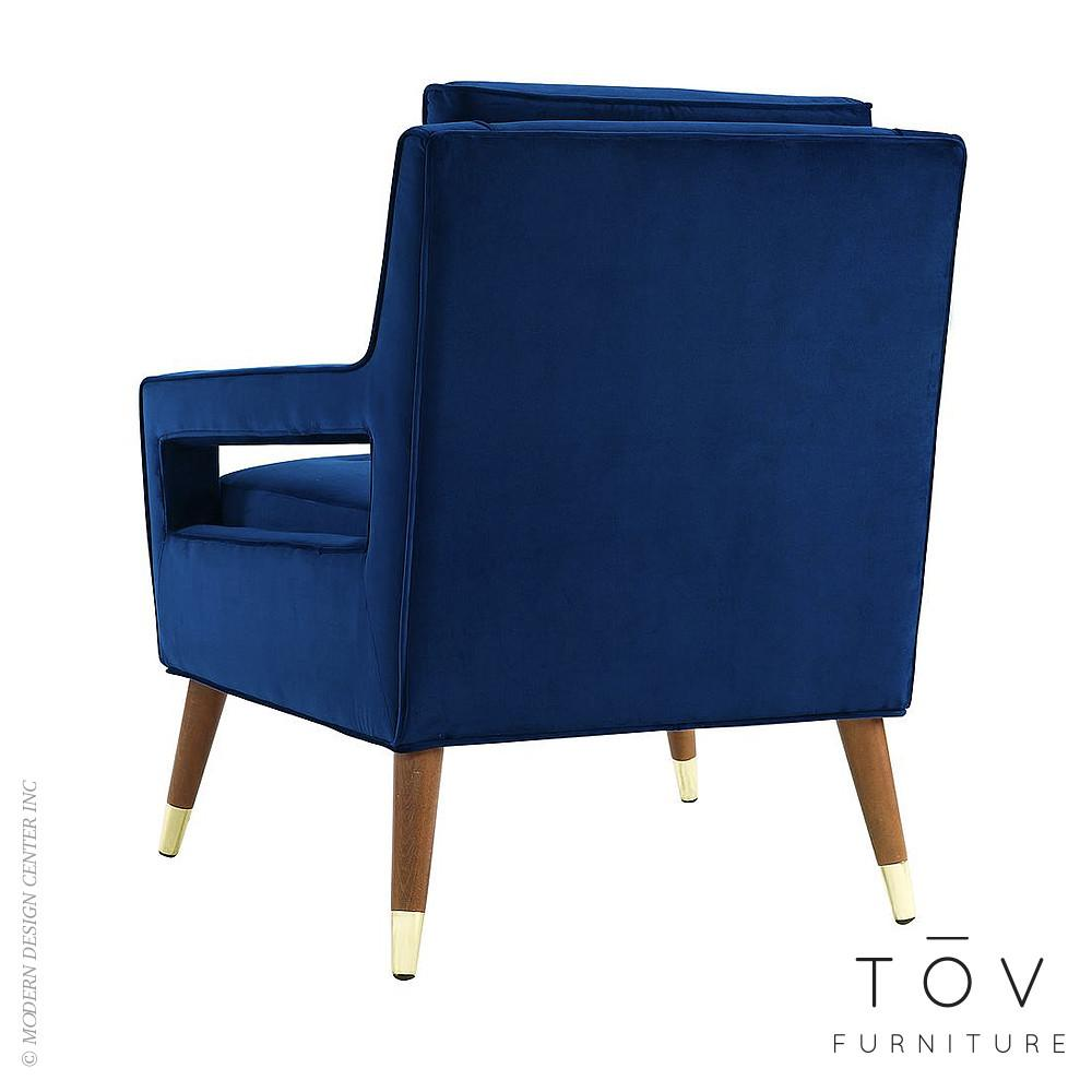 Draper Navy Velvet Chair Tov Furniture Metropolitandecor