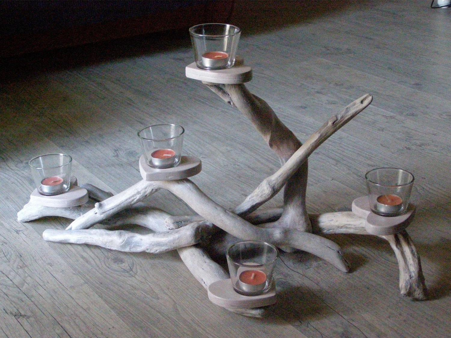 Driftwood Centerpiece Candle Holder Five Positions Wedding