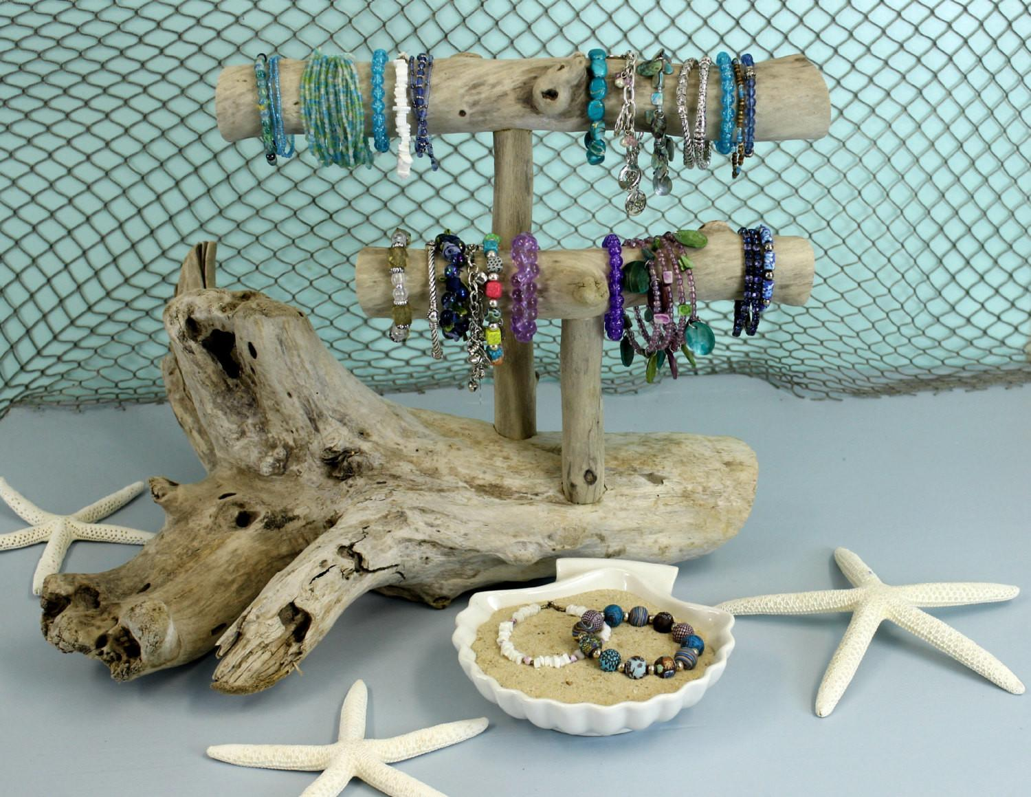 Driftwood Jewelry Holder Two Level Stand