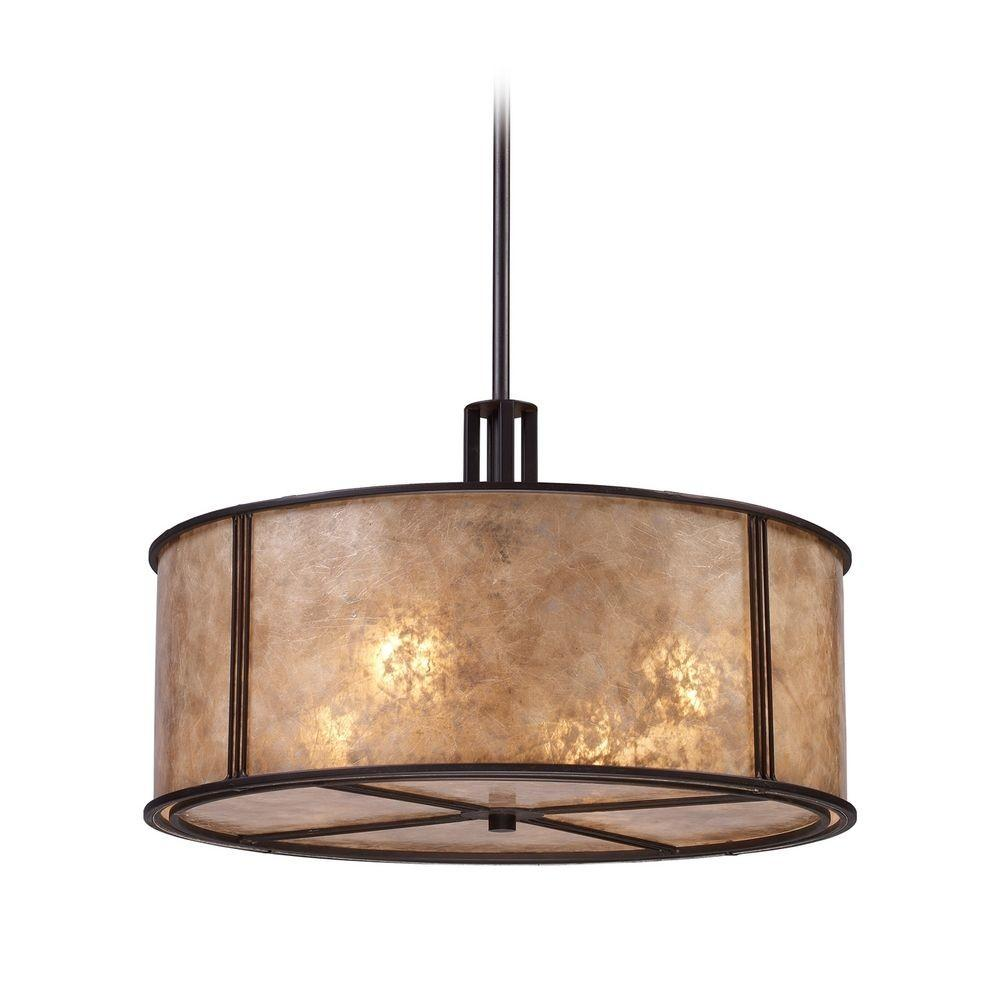 Drum Pendant Light Brown Mica Shade Aged Bronze