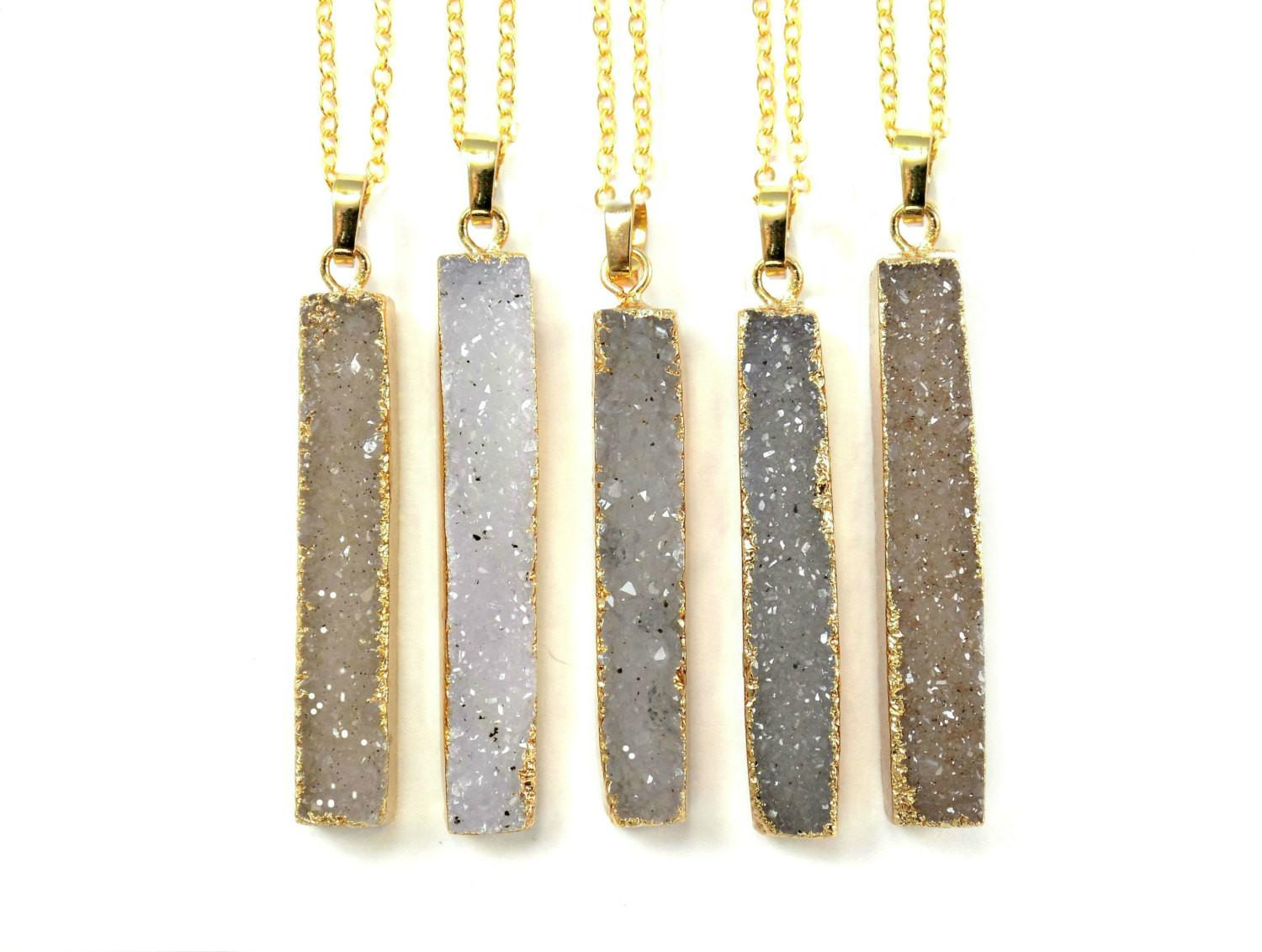 Druzy Necklace Modern Minimal Crystal Pendant Bar