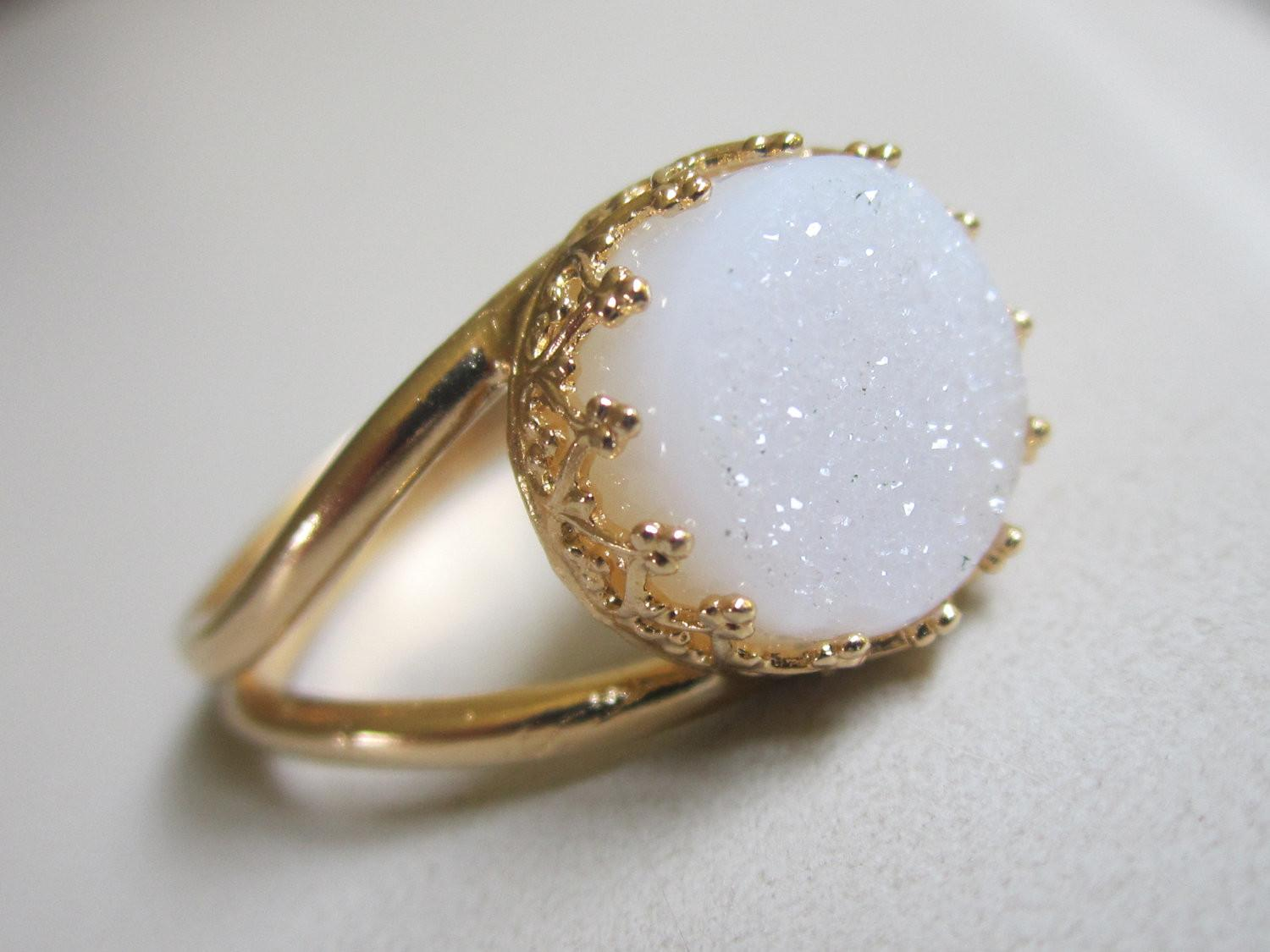 Druzy Ring Gemstone Gold Bridal Cocktail