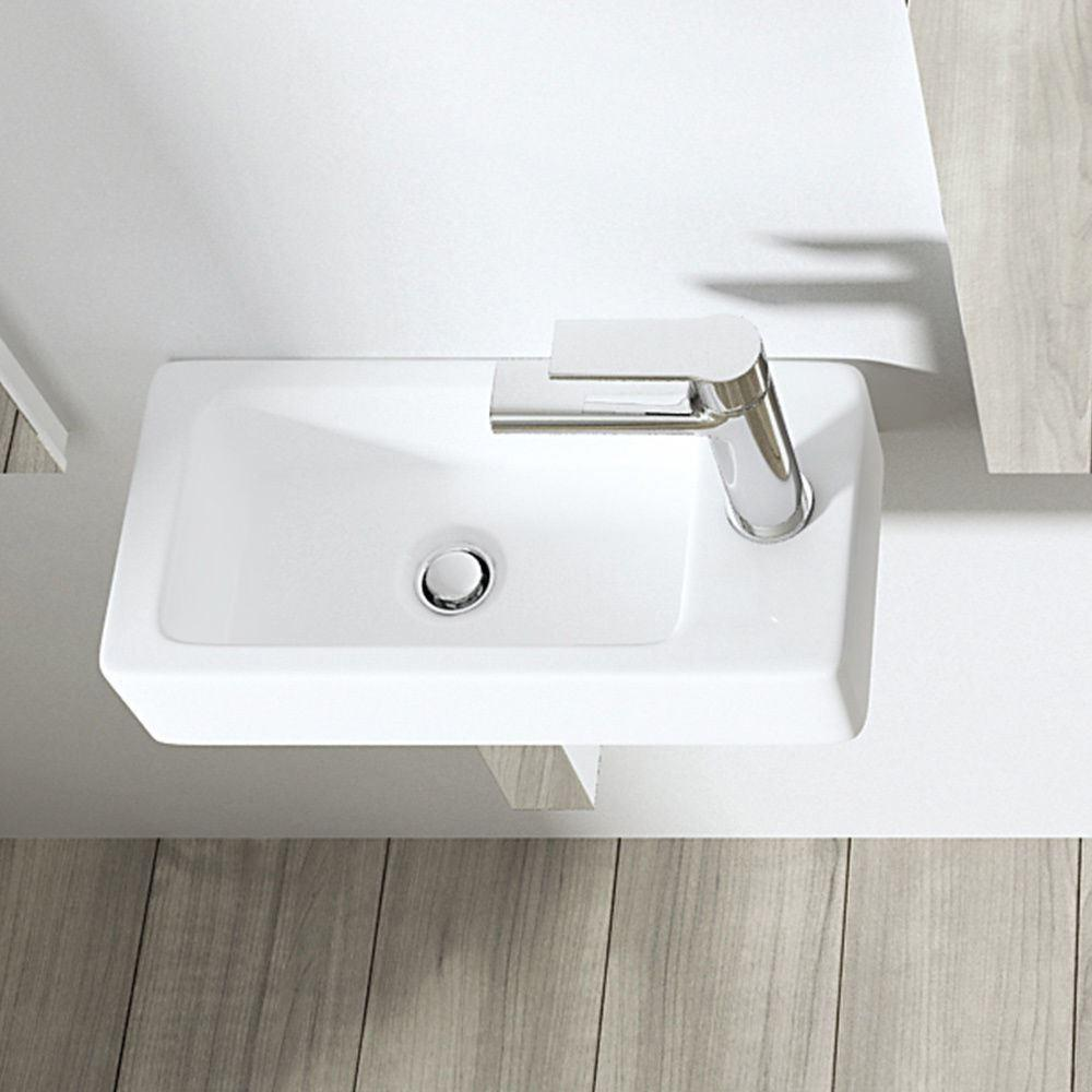Durovin Small Compact Rectangle Cloakroom Basin Sink Wall