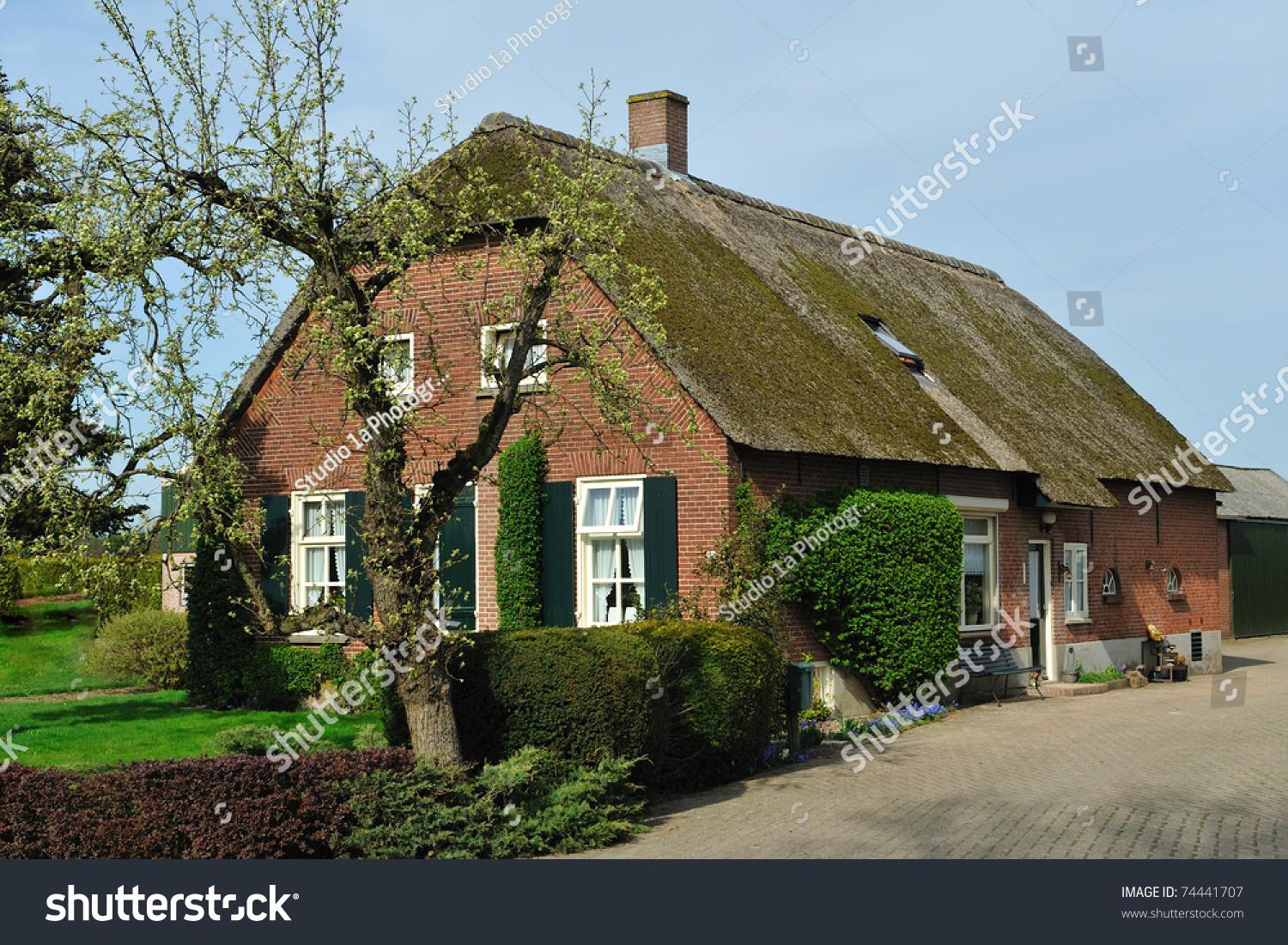 Dutch Farm House Whit Thatched Roof Stock