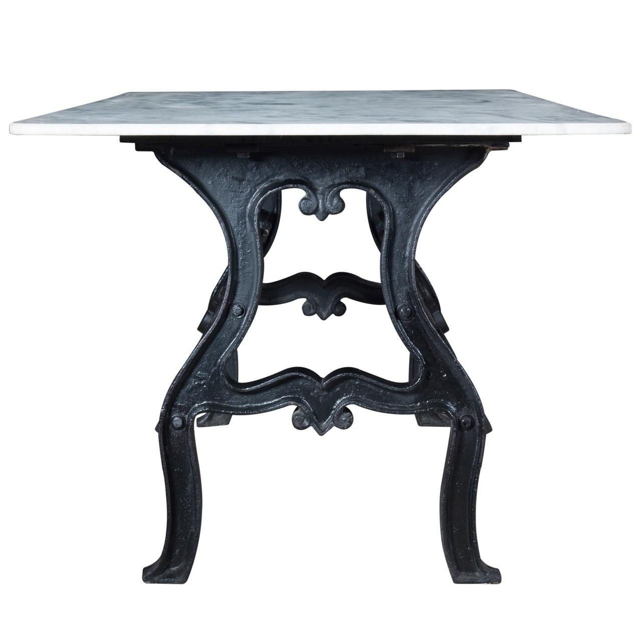 Dutch Industrial White Marble Top Dining Table Zin Home