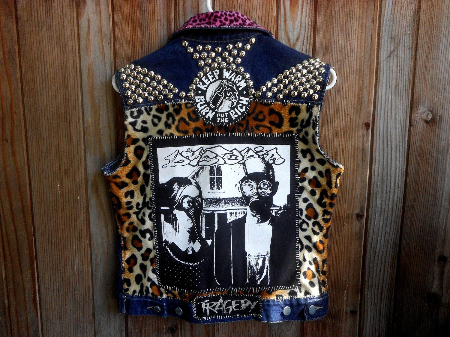 Dystopia Patched Studded Crust Punk Vest