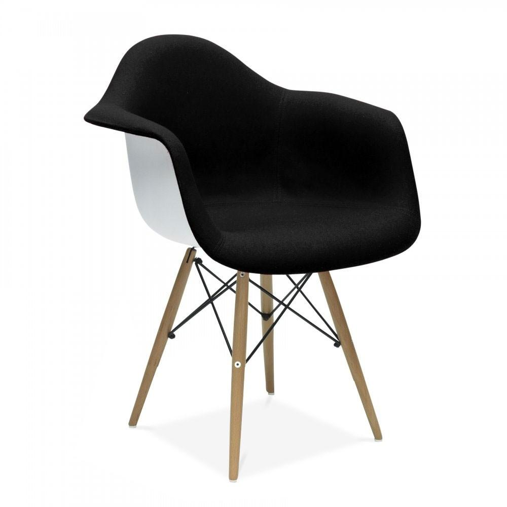 Eames Style Upholstered Black Daw Chair Side Cafe