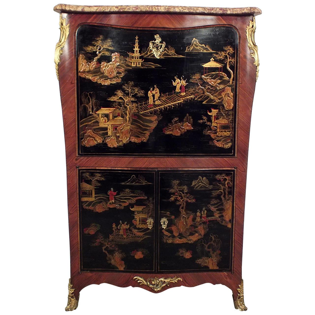 Early 1900s French Chinoiserie Style Secretaire