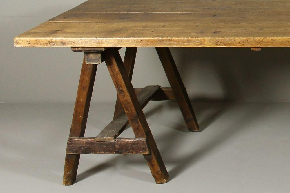 Early 19th Century Pine Alder Trestle Table