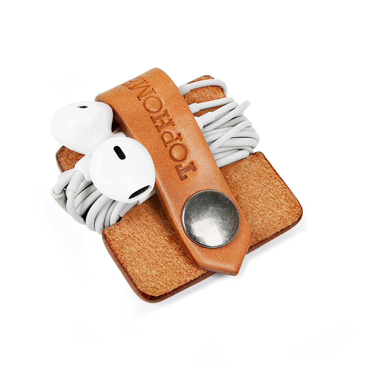 Earphone Organizer Cord Leather Cable Holder Earbud