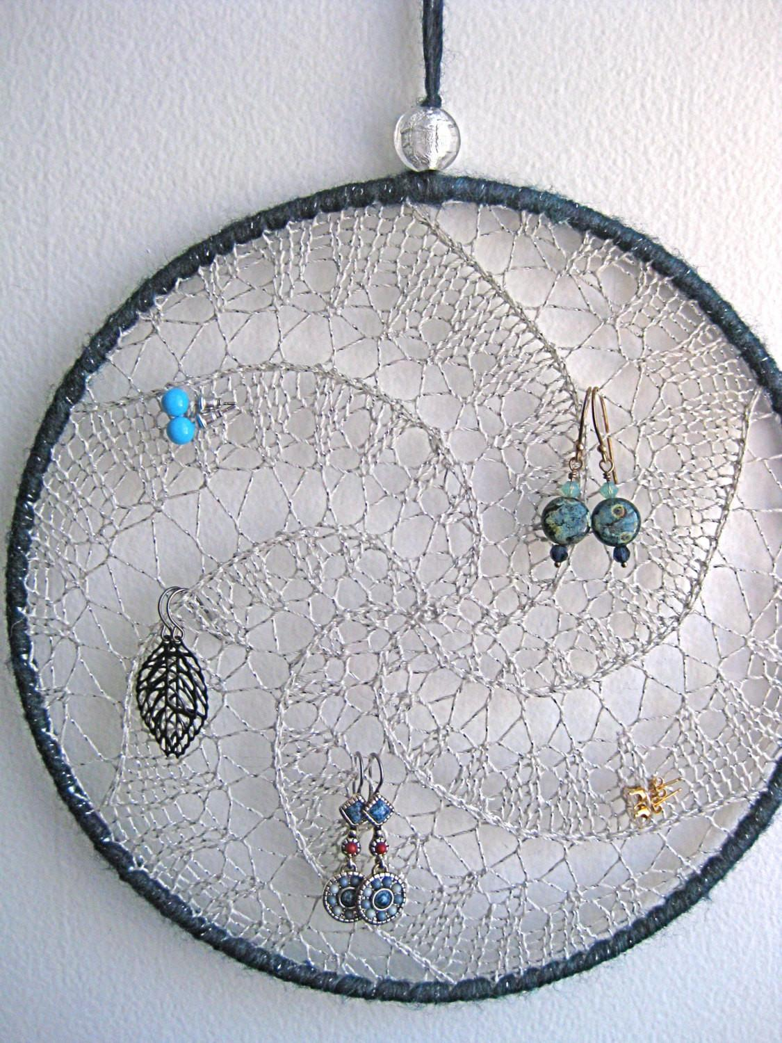Earring Holder Hanging Jewelry Organizer Silver Blue