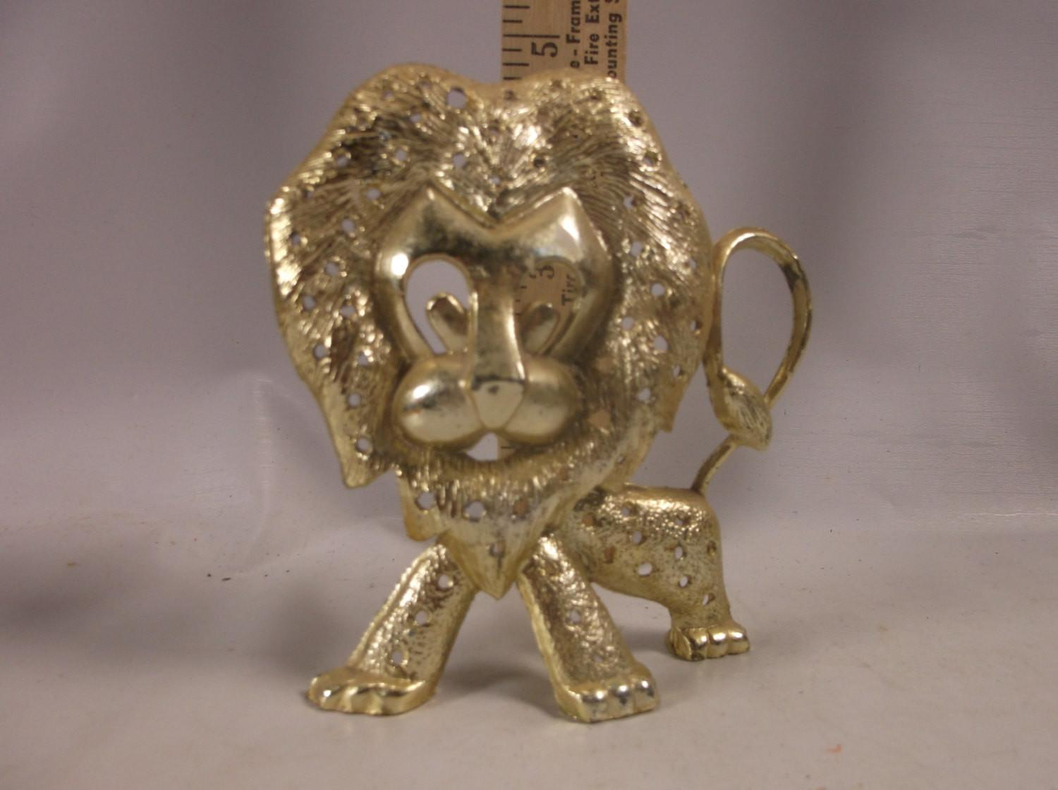 Earring Holder Vintage Torino Lion Jewelry Gold Tone