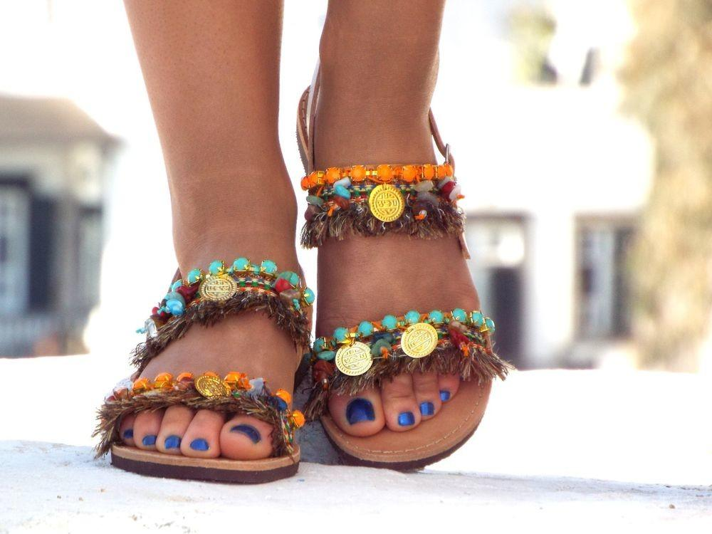 Earth Color Sandals Greek Ibiza Party Summer