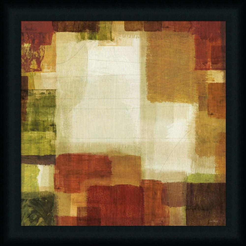 Earth Fire Orange Red Contemporary Abstract Framed