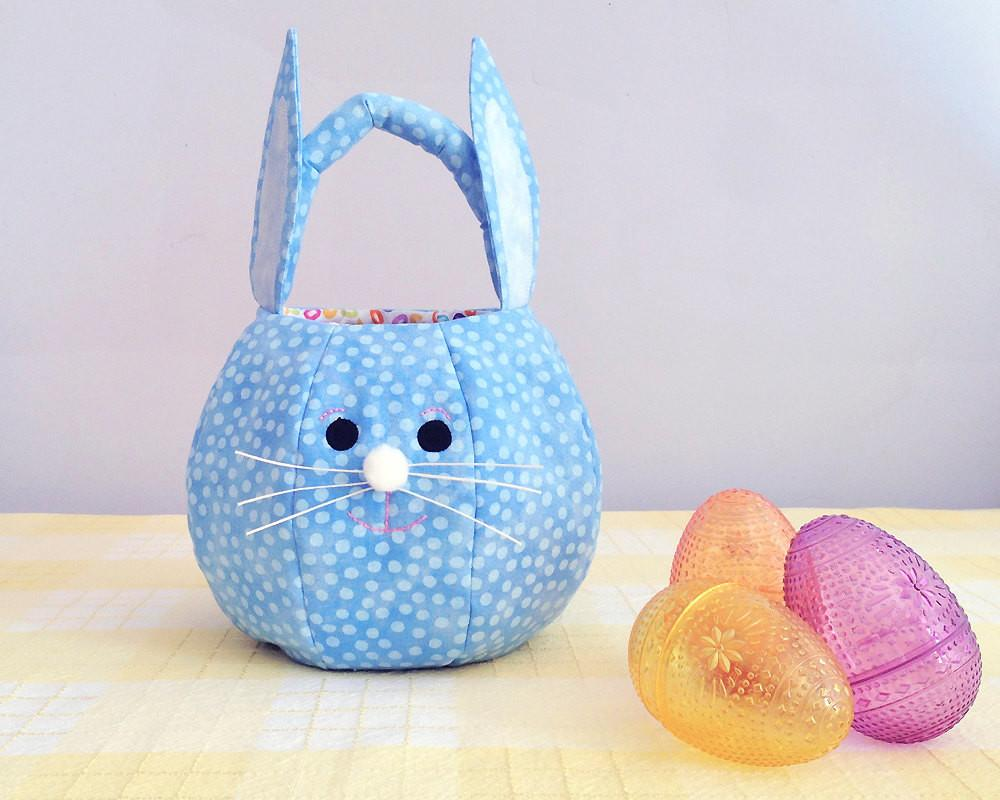 Easter Basket Quilted Fabric Bunny Personalized