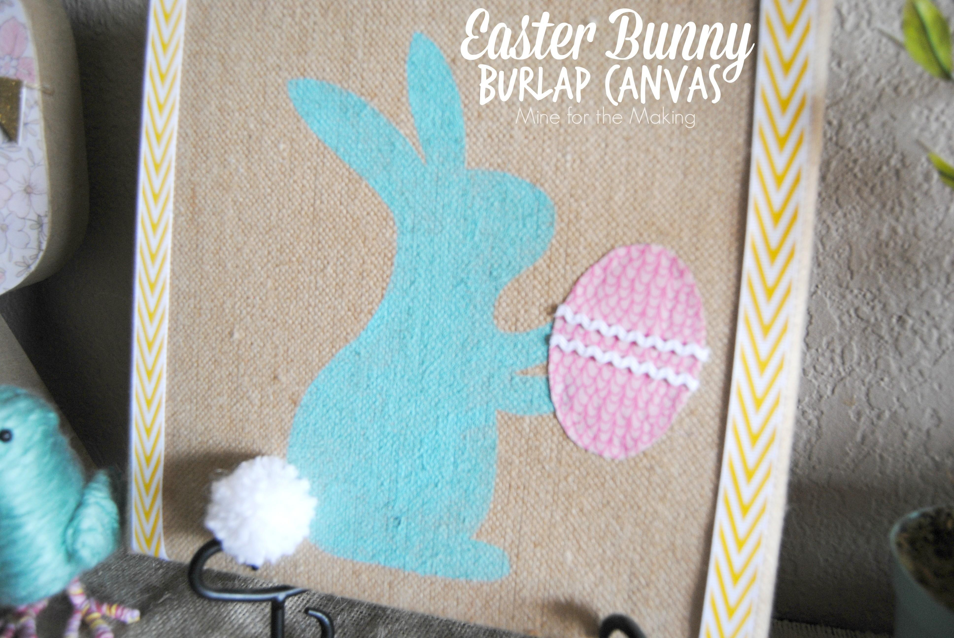 Easter Bunny Burlap Canvas Mine Making