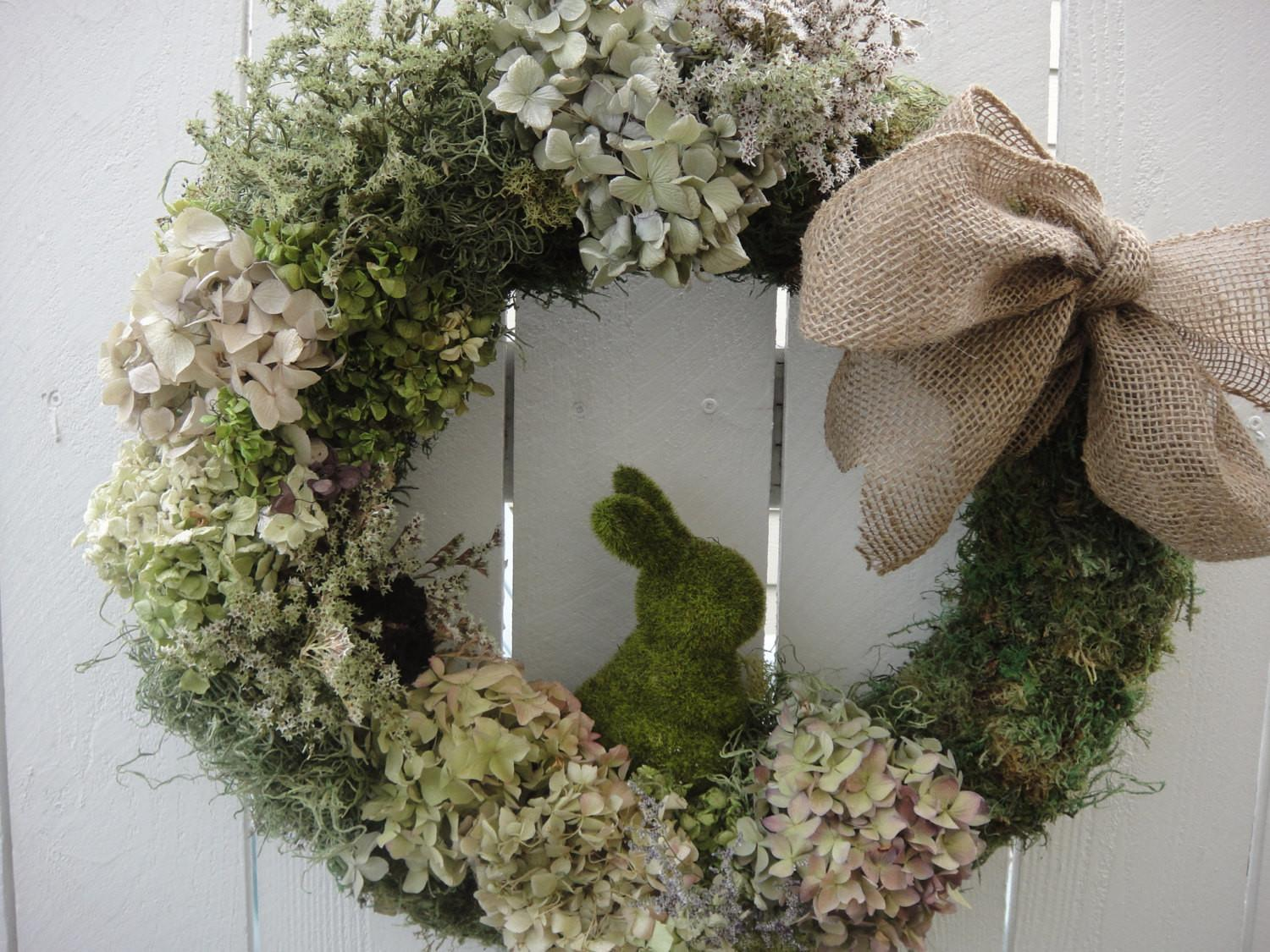 Easter Bunny Wreath Moss Spring Donnahubbard