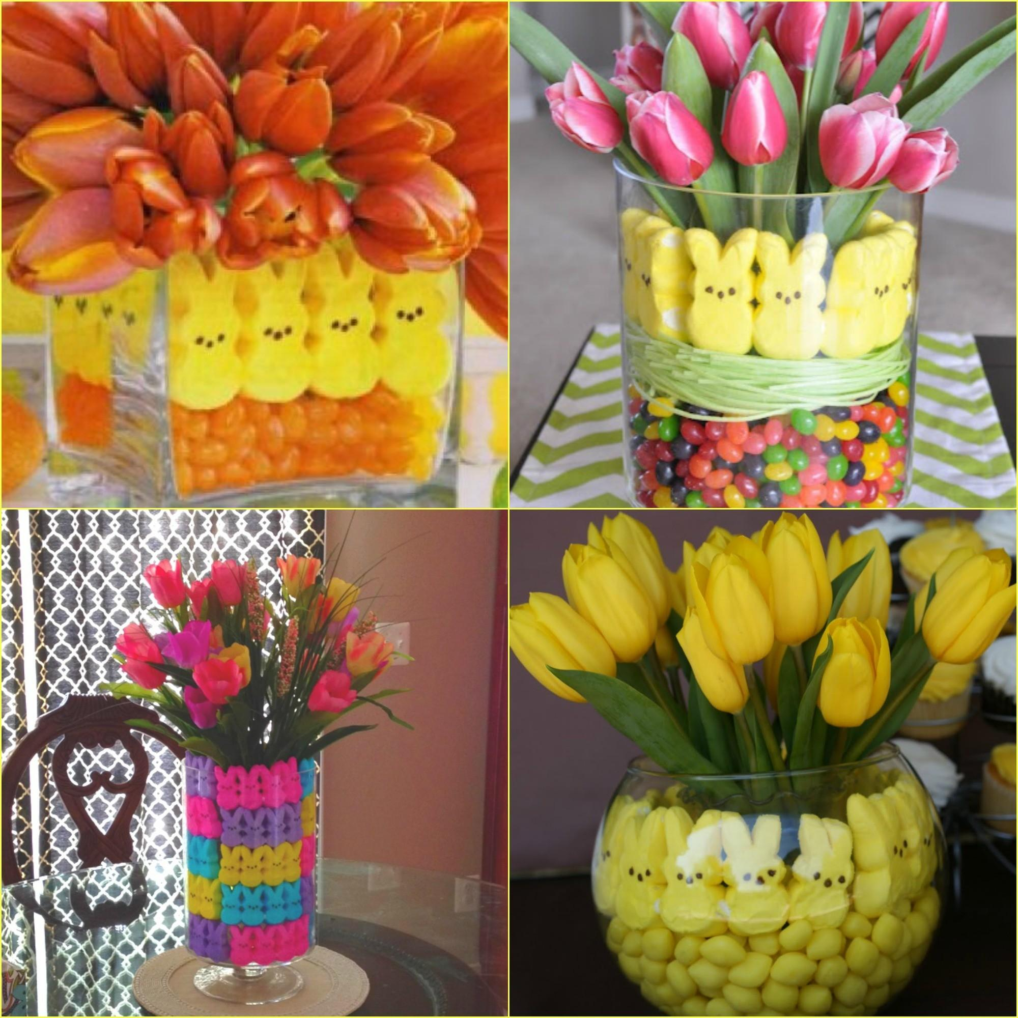 Easter Centerpieces Peeps Potted Bulbs