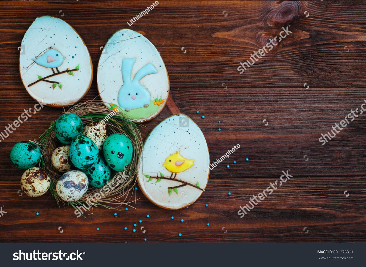 Easter Decoration Concept Painted Turquoise Quail Stock