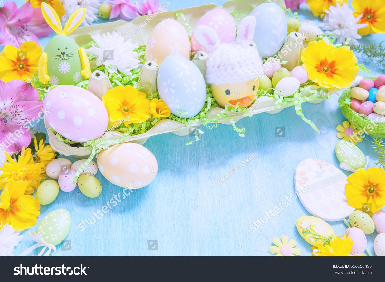 Easter Decorations Colorful Eggs Flowers Stock