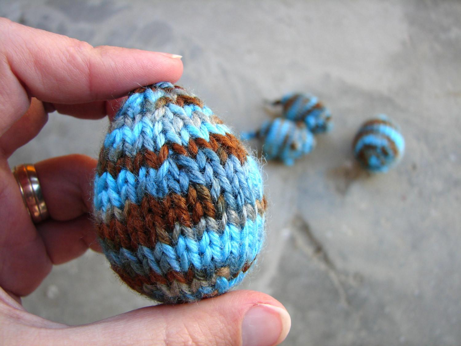 Easter Eggs Blue Brown Silky Egg Toys Knitted