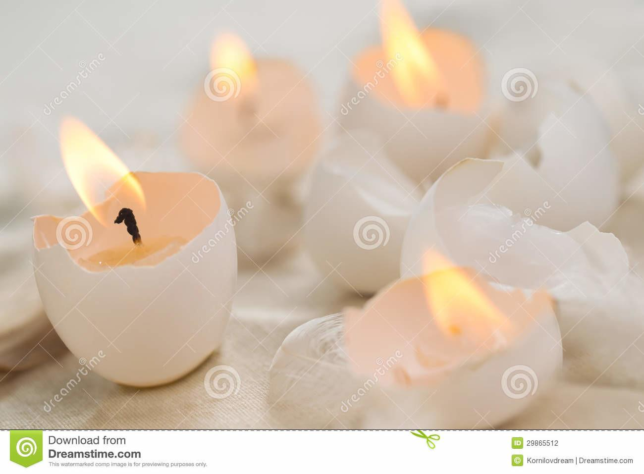 Easter Eggs Candles Stock Photography